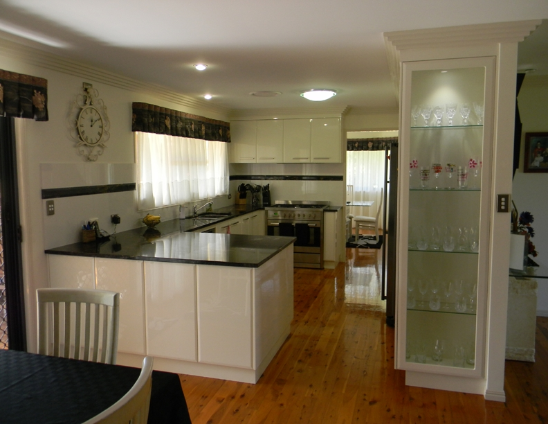 Kitchen with display cupboard