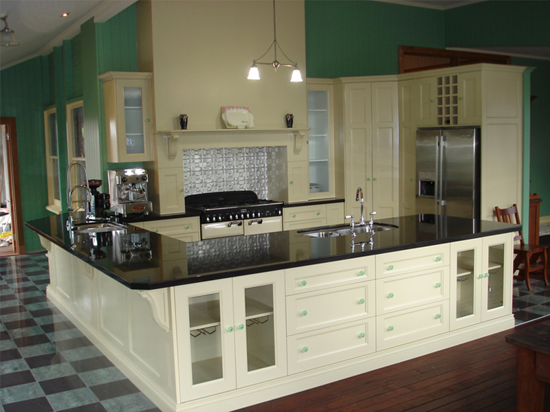 Colonial Kitchen with Stone Benches